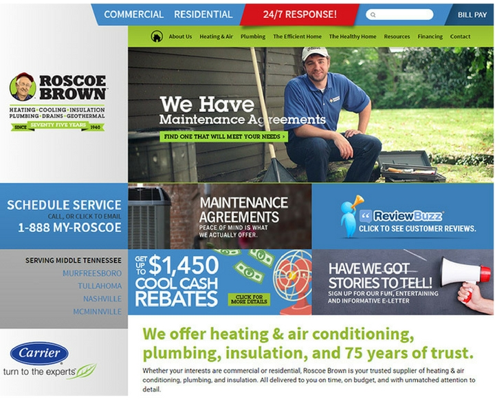 Roscoe Brown Heating, Cooling, Insulation, Plumbing, Drains and Geothermal Services in McMinnville, Tennessee