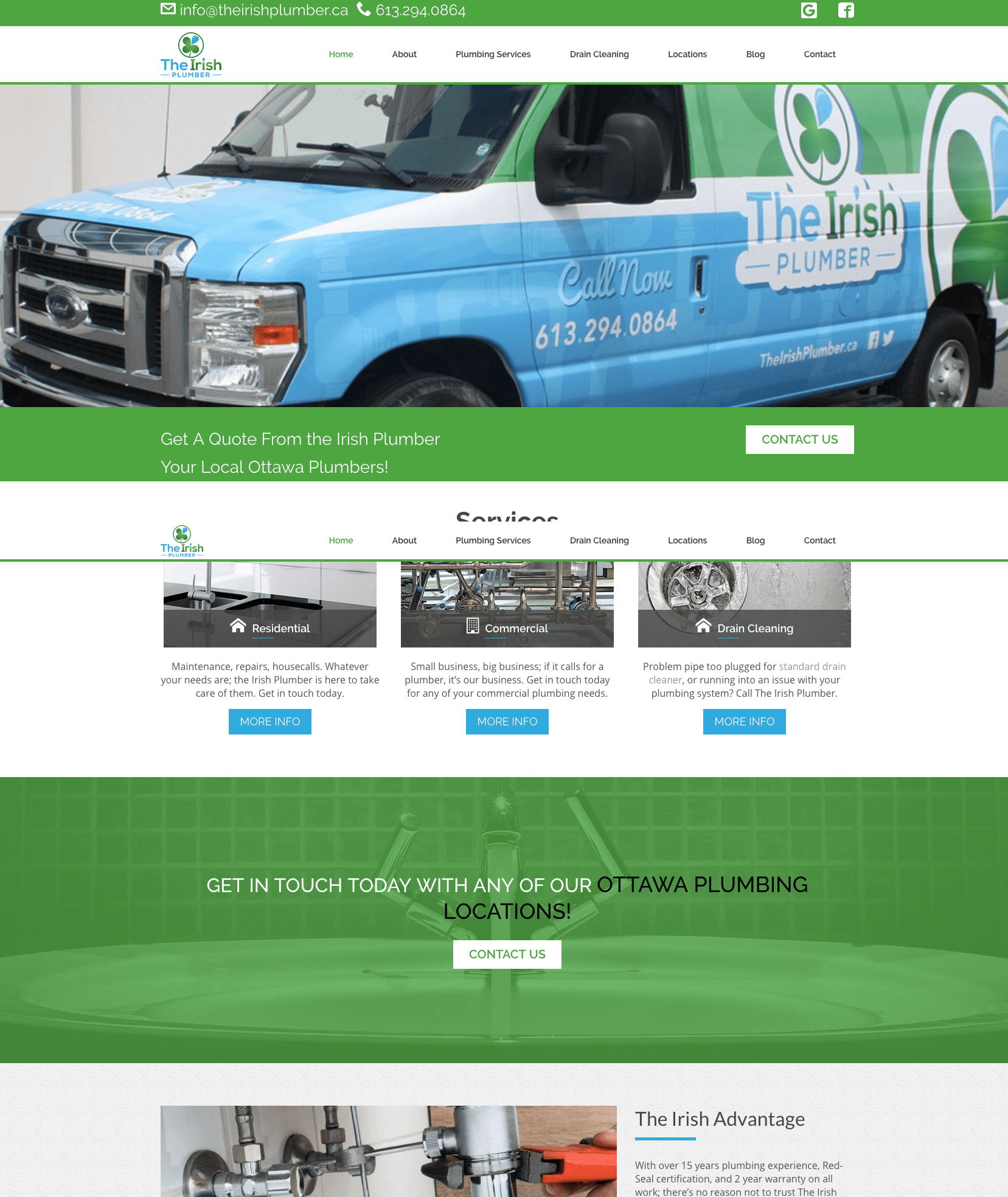 The Irish Plumbers | Well Designed Plumbing Website Inspirations