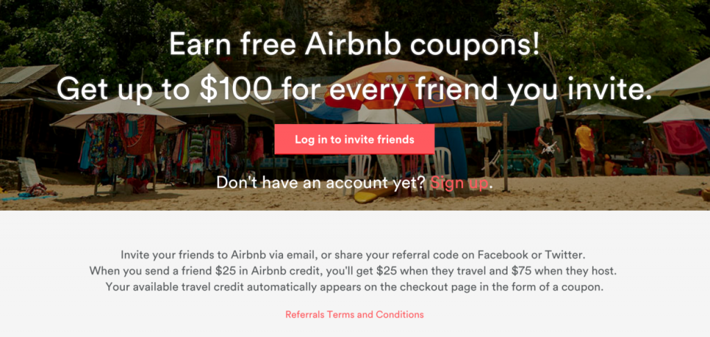 Airbnb's referral program