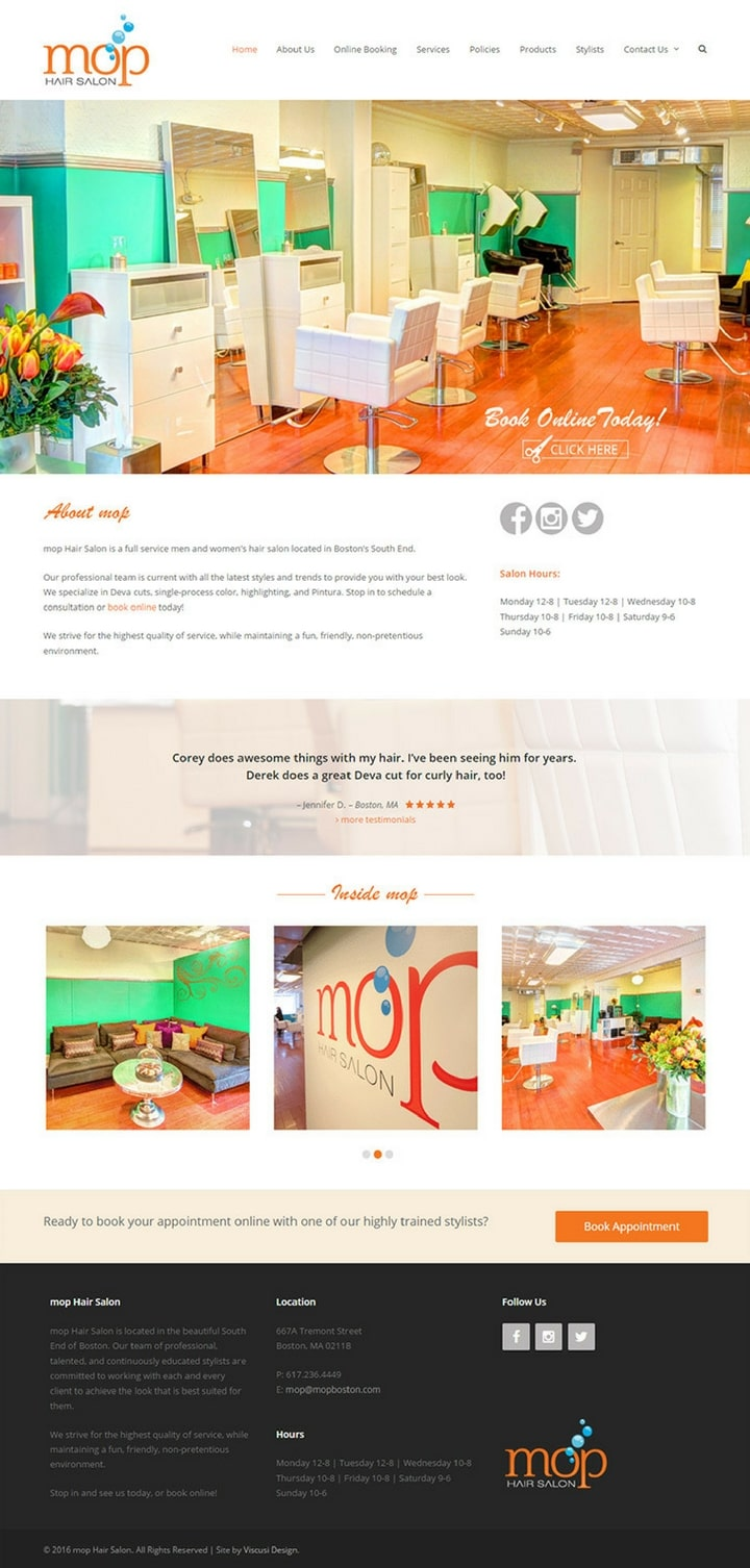 Mop Boston | Hair & beauty salon website designs