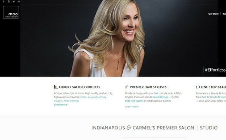 MDG Hair Salon - Downtown Indianapolis & Carmel | hair & beauty salon web designs