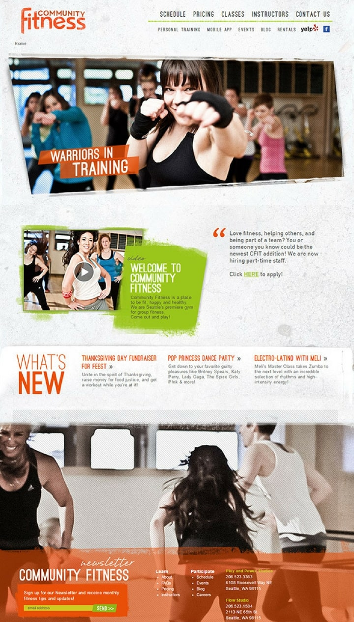 gym and fitness webdesigns