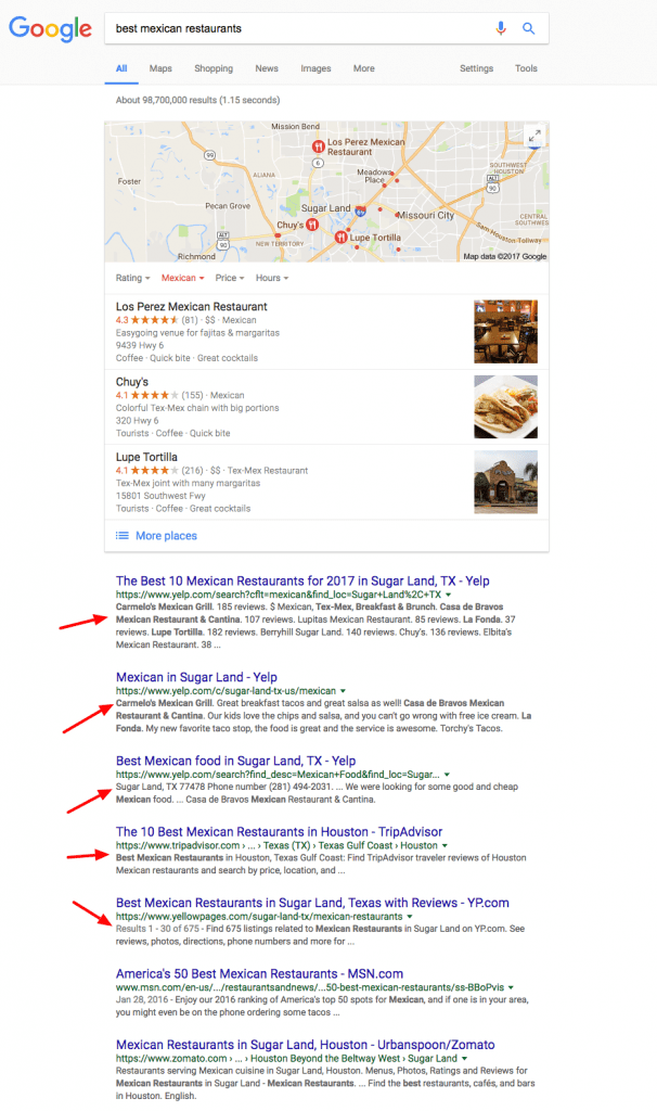 Online Directory Listing for local search results