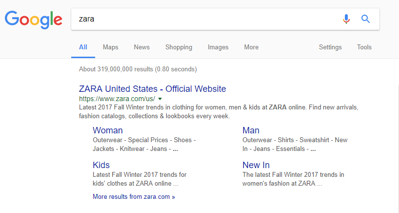 how google crawls brand pages like zara