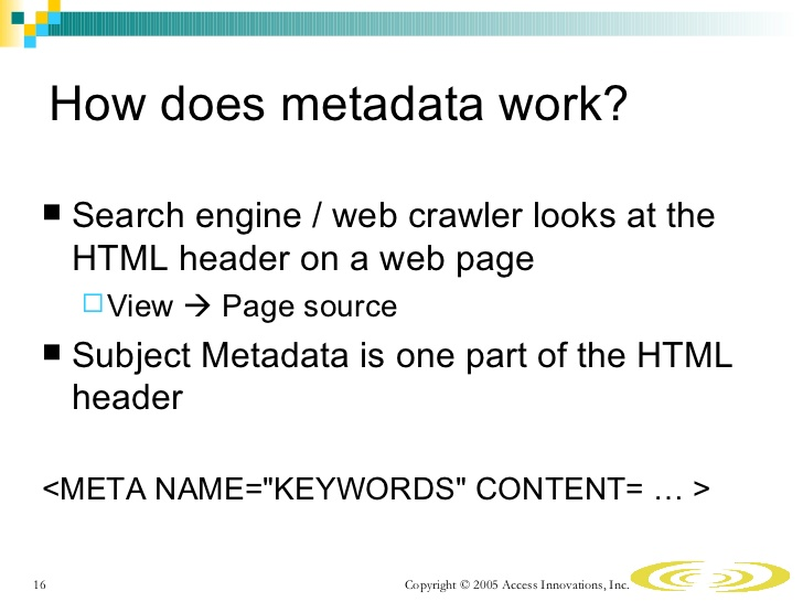 what is meta data and how does it work