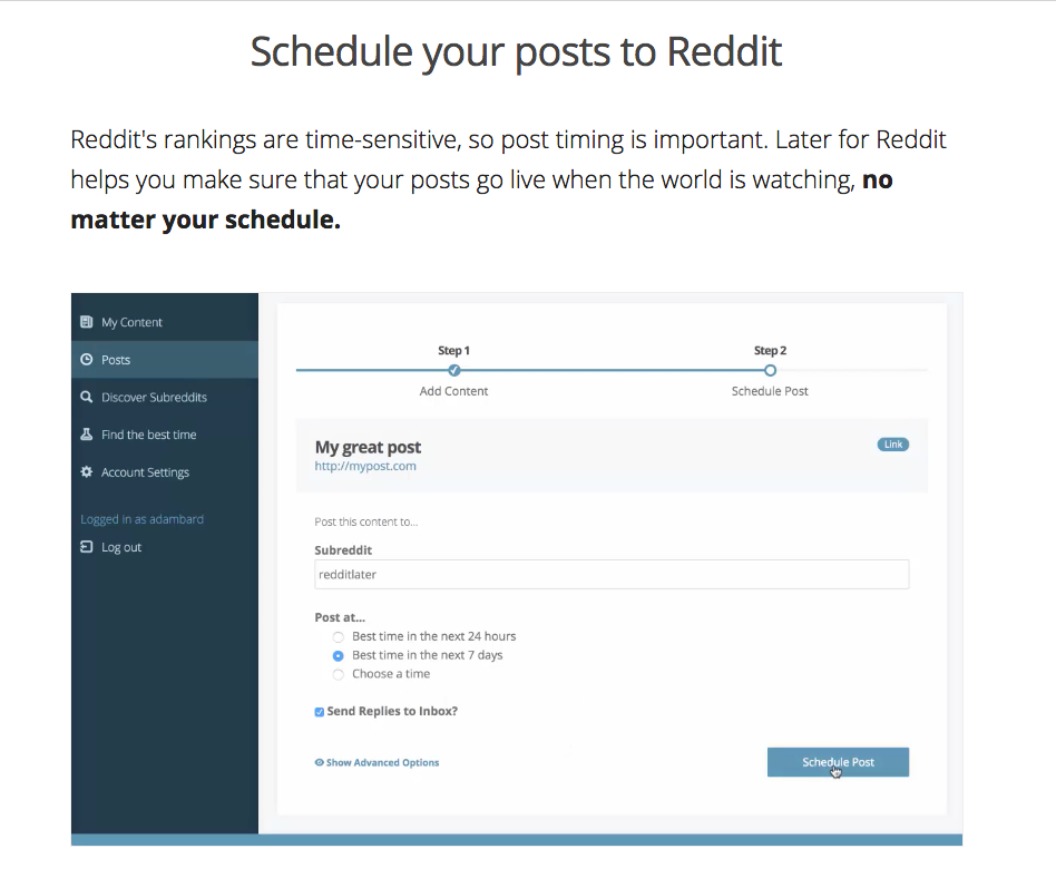 LaterforReddit Schedule posts to reddit