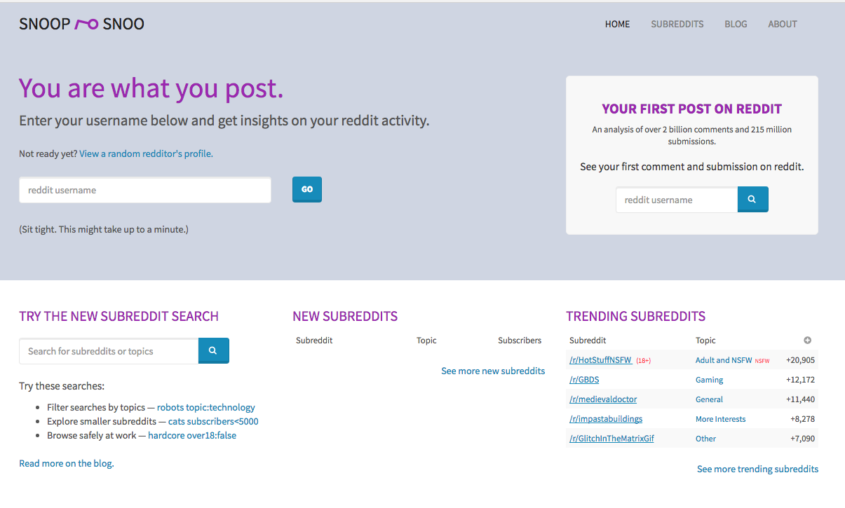 SnoopSnoo - Reddit user and subreddit analytics